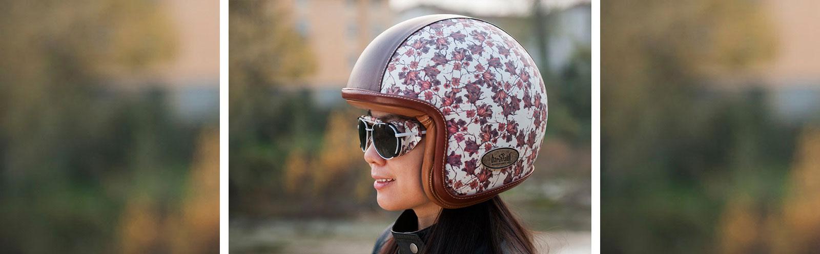 casco in pelle Baruffaldi con occhiali in pelle coordinati